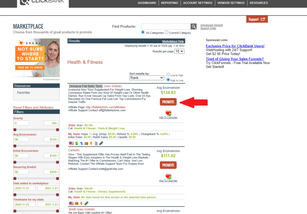 A product on clickbank